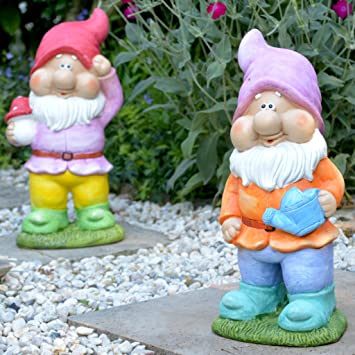 Intrendu Lustige Gartenzwerge 42cm Gross Im Set Garten Deko Figuren