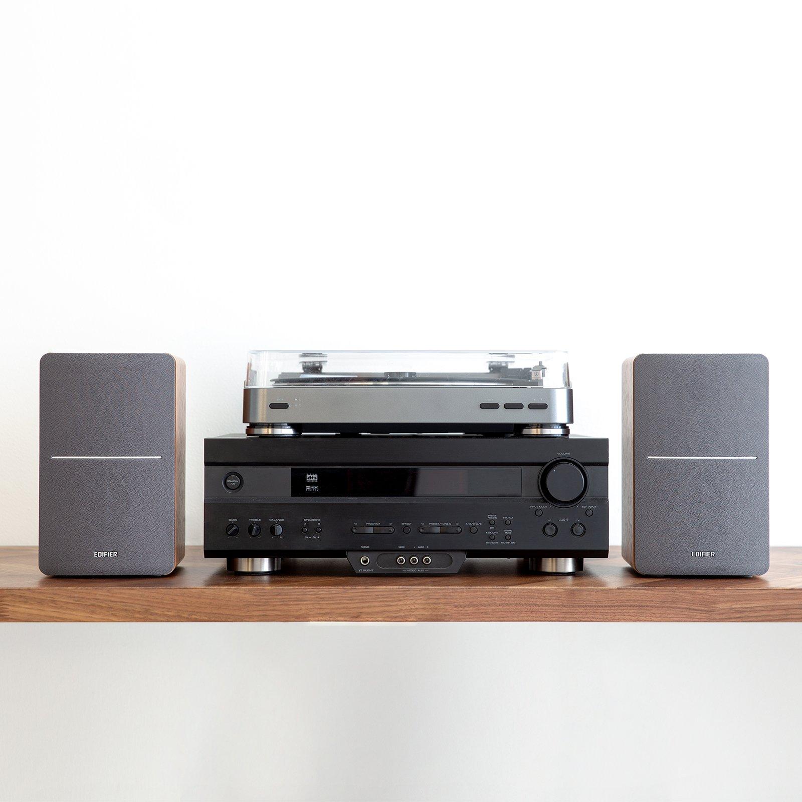 Edifier P12 Passive Bookshelf Speakers - 2-Way Speakers with Built-in Wall-Mount Bracket - Wood Color, Pair by Edifier (Image #6)