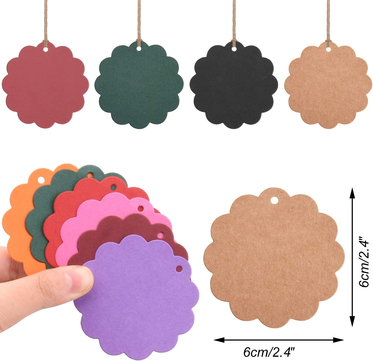 Udefineit 200PCS Colorful Kraft Gift Tags with String 20 Colors Star Shape Kraft Paper Hang Tags Blank Pricemarker Card Labels for Wedding Party Favors Gift Packing DIY Bookmark Sales Baking