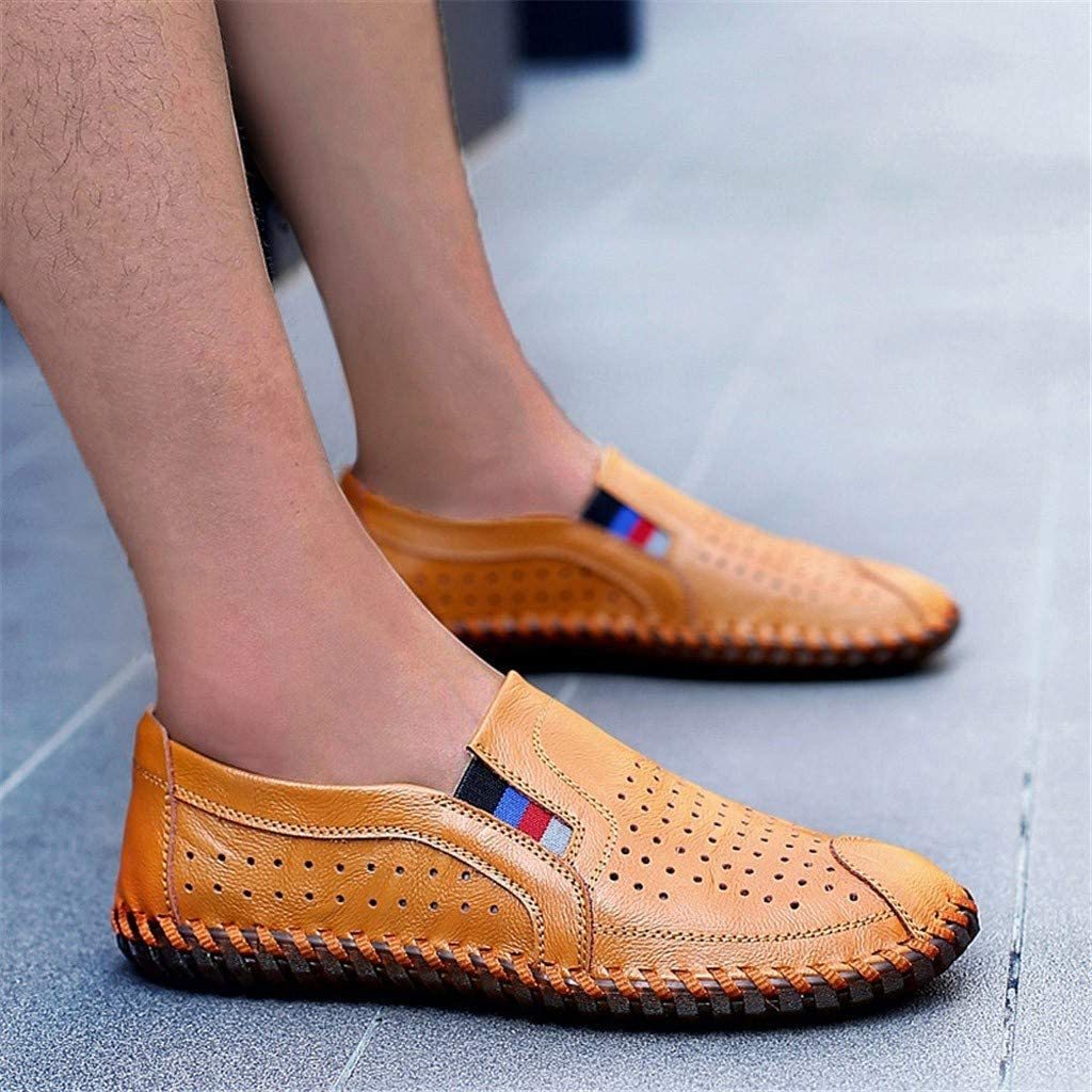 Mens Casual Shoes British Style Handmade Loafers Outdoor Breathable Leather Shoes Flats Oxford Sneakers