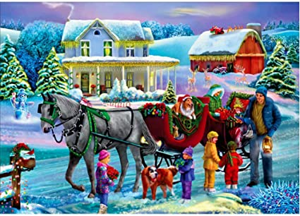 "Winter Horse-drawn Sleigh DIY Paint By Number kit 16x20/"" Oil Painting On Canvas"