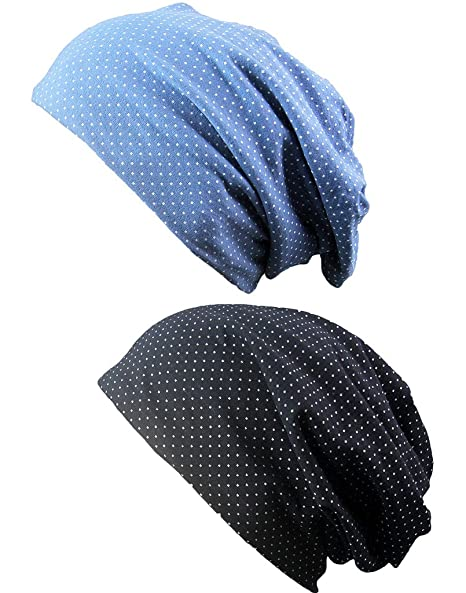 4cc3093898a I VVEEL Soft Comfy Cotton Beanie Sleep and Chemo Cap Hats for Hairloss 2  Pack Blue Black at Amazon Women s Clothing store