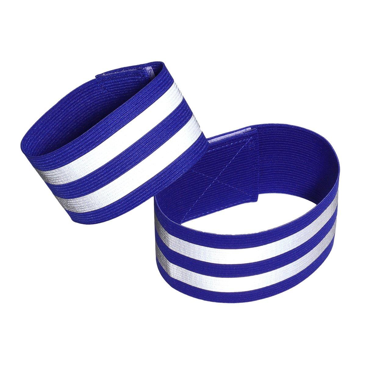 LIOOBO 1 para Reflektierende Bänder für Handgelenk Arm Knöchelbein Reflektierende Laufbekleidung für Männer Frauen Nacht Laufen Radfahren Wandern Fahrrad (Blau)