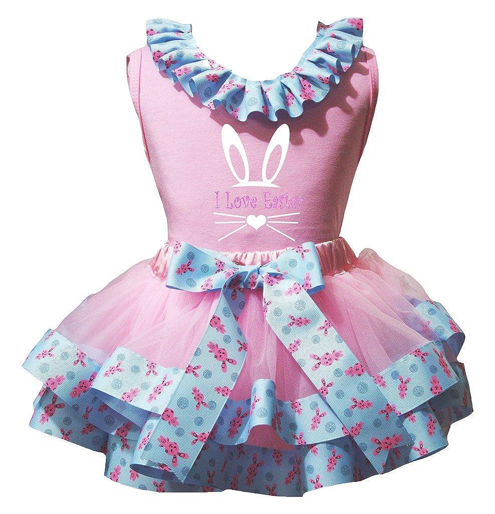 Petitebella I Love Easter Shirt Bunnies Ribbon Pink Petal Skirt Nb-8y
