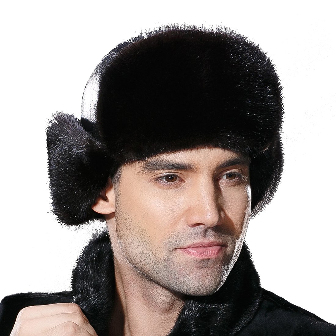 URSFUR Winter Leather Men Fur Hat Real Mink Fur Russian Trapper Hats by URSFUR