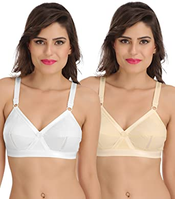 6434b903fc6 Sona Perfecto Women White Full Cup Everyday Plus Size Cotton Bra Full  Coverage Non Padded Pack