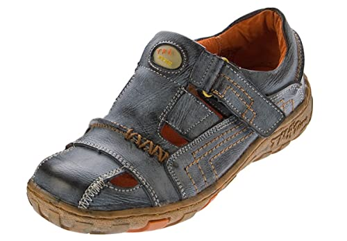 Damen Tma Schuhe Leder Sandaletten Klettverschluss odxBeC