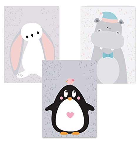 ELAFI Set de 3 Carteles para habitación Infantil A4 sin Marco | Cartel Infantil de Estilo escandinavo | Póster de bebé para habitación de bebé | ...