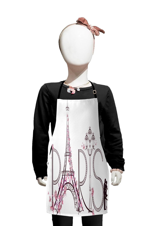 Lunarable Paris 子供用エプロン パリの文字入りタワーエッフェル塔 カップルトリップフラワー 花柄 芸術的なデザインプリント 男の子 女の子 エプロン ビブ 調節可能なひも付き 料理 お菓子作り ペールピンク   B07CZN3Y41