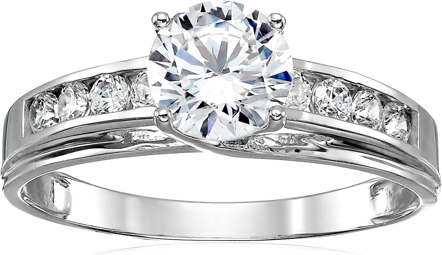 Solid 14k White Gold Solitaire Round Cz Cubic Zirconia Engagement Ring 1 5ct Amazon Com