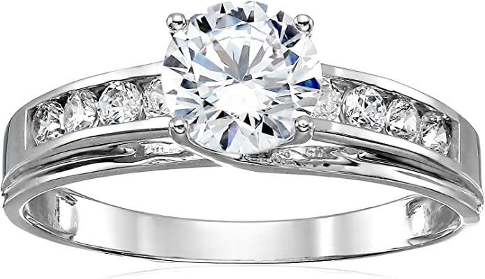 Sterling Silver or Gold Made to Order Near Colorless Split Prong Solitaire Round  Cubic Zirconia  Engagement Ring 11mm 5 cts