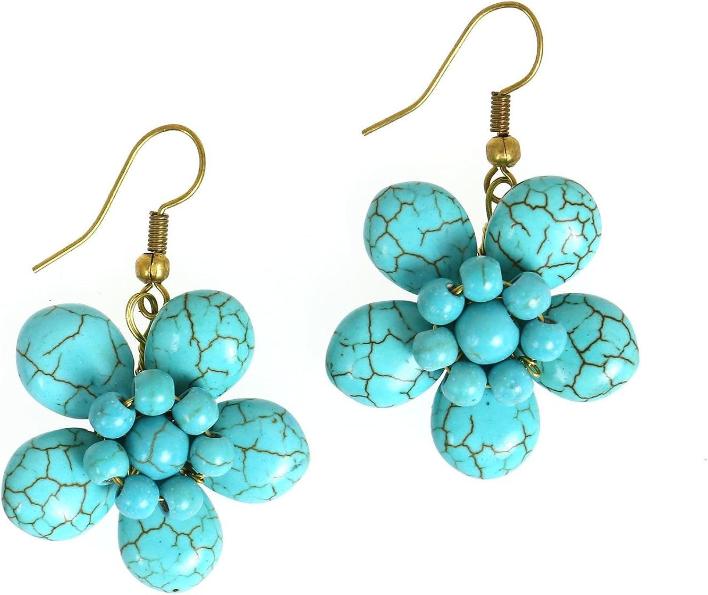 Idin joyas hecha a mano turquesa piedra flor con perla Pendientes