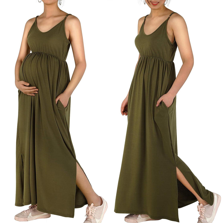42df5d6b34cf8 Women's Sleeveless Maxi Maternity Dress Caual Summer Pregnancy Long Dresses  Maternity Clothes with Pocket