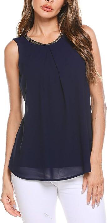 Finejo - Blusa de gasa para mujer, elegante, para verano, sin mangas, con adornos: Amazon.es: Ropa y accesorios