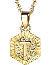 U7 Jewelry Initial Alphabet Letter Pendant Square Tag Charm 18K Gold/Platinum Necklace Chain Men Women,A-Z