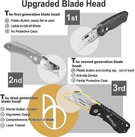 cortador de Plegable de Cambio R/ápido con cuchillas de acero inoxidable SK5 extra de 10 piezas negro Bibury Cuchillo multifuncional dise/ño de bloqueo de seguridad Cortador de caja