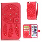 iPhone 6s Case, KKEIKO® iPhone 6 / iPhone 6s Wallet Case, Flip Leather Case and Cover with Bling Rhinestone, Book Style Bumper Cover Case for Apple iPhone 6 / iPhone 6s with Free Tempered Glass Screen Protector (Red)