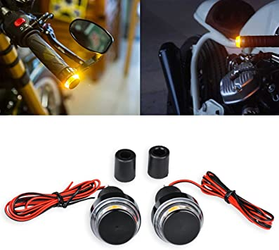 Motorcycle LED Turn Signals Black Aluminum Smoked Lens Amber LED 2 Wire 12 Volt