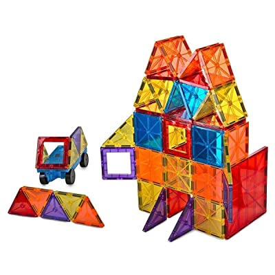 Mag-Genius Award Winning building Magnet Tiles Blocks Clear Colors 3D Brain Building Blocks Set of 108 +15 extra piece set bonus Includes 2 Cars And Free Storage Bin AGE 3 +: Toys & Games
