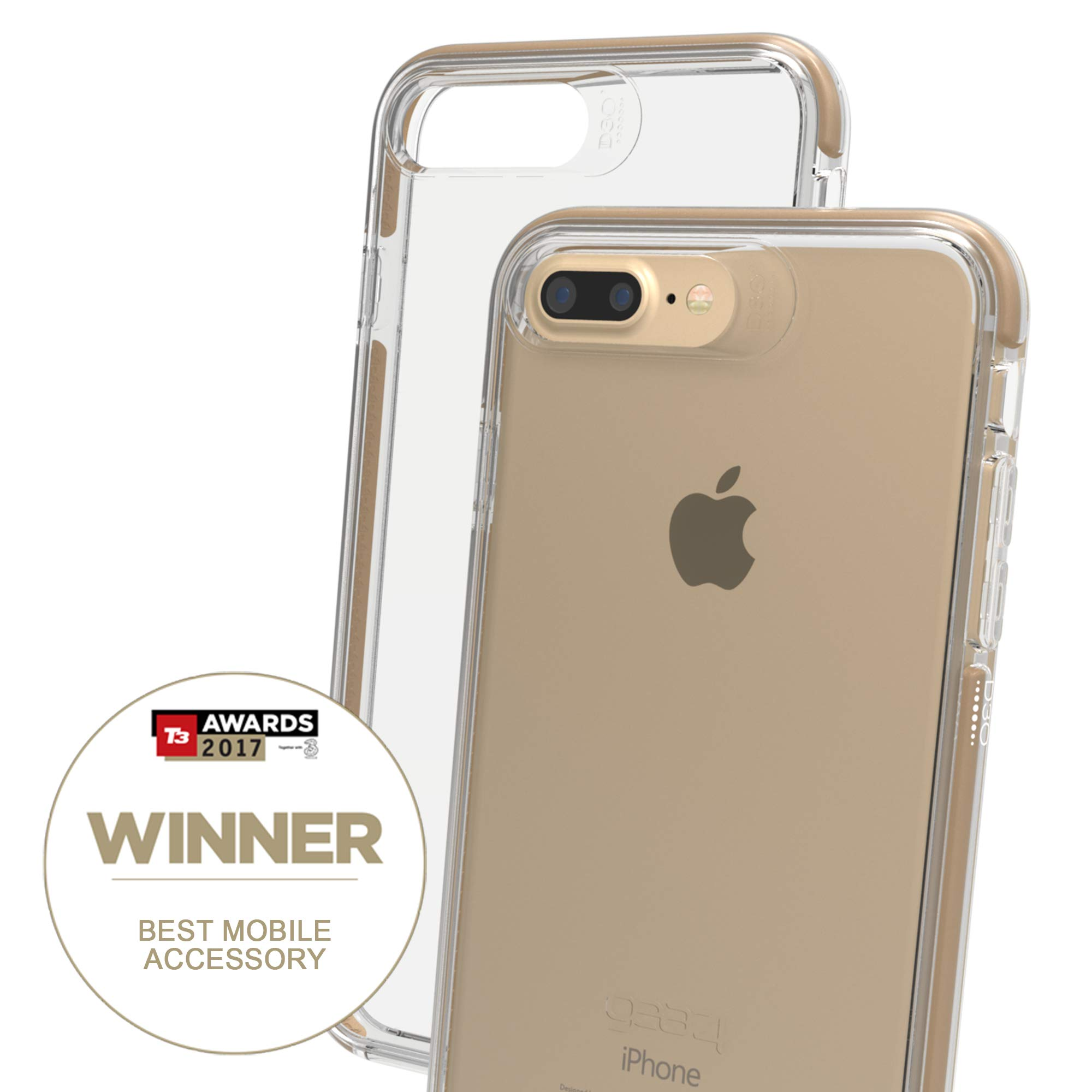 6e71d35bc2340 Gear4 Piccadilly Clear Case Advanced Impact Protection [ Protected D3O ],  Slim, Tough Design iPhone 7/8 Plus – Gold