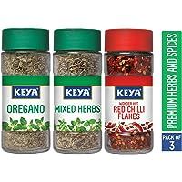 KEYA Combo of Oregano (9 G), Mixed Herbs (20 G) and Red Chilli Flakes (40 G)