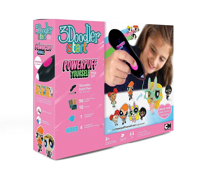 3Doodler Start Powerpuff Yourself Licensed 3D Pen Set for Kids, Black Pen, with 4 Packs of Plastic Filaments