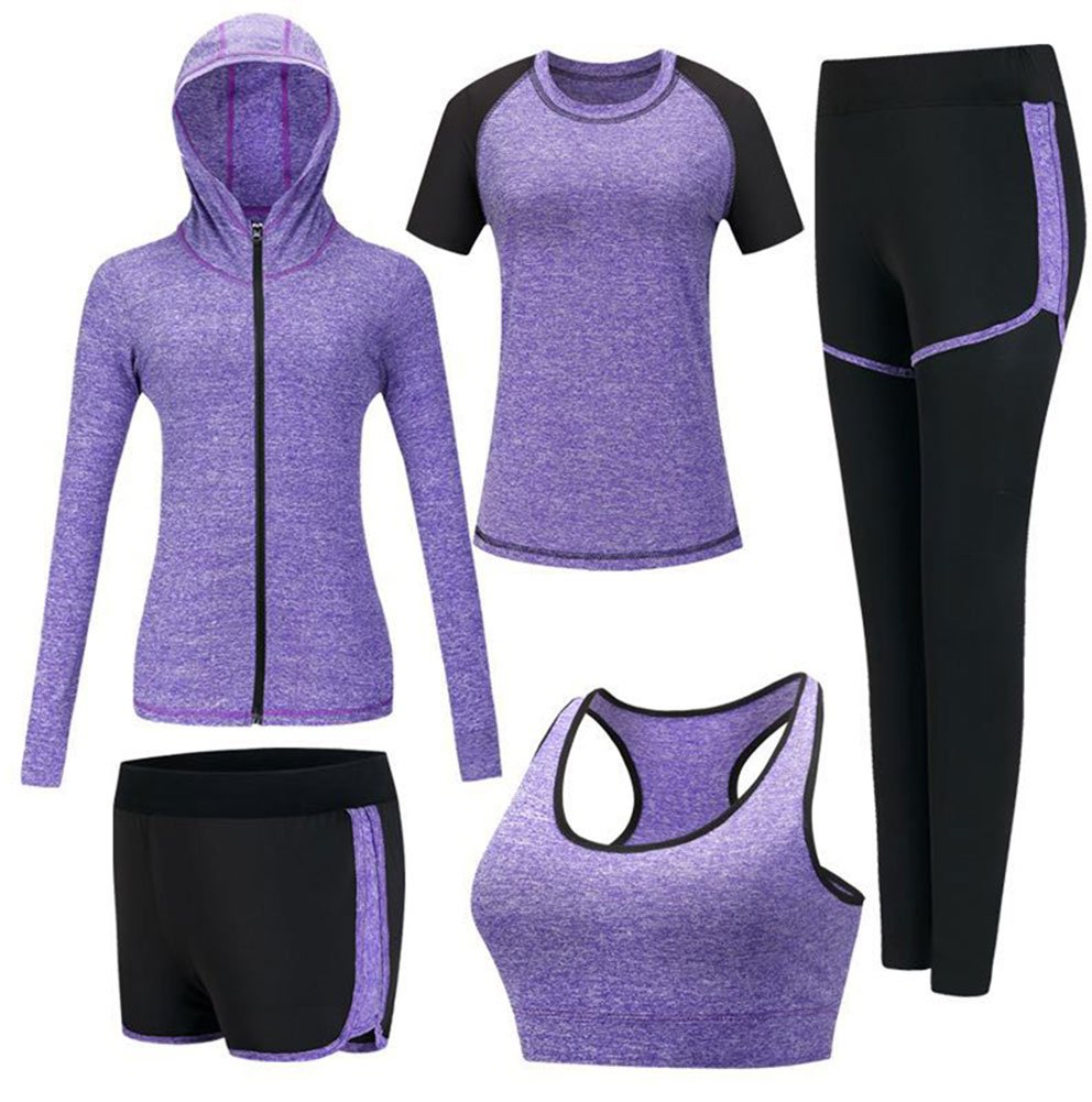 Onlyso Women's 5pcs Sport Suits Fitness Yoga Running Athletic Tracksuits (L, Purple)
