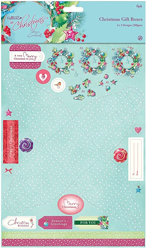 Docrafts Craft Set Lucy Cromwell At Christmas Die-Cut Favour Gift Box x6