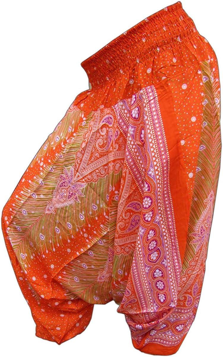 PANASIAM Edizione Limitata Pantaloni Aladino Stile Print-Design Motivo: Pavone