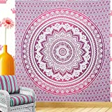 Indian-hippie Bohemian-psychedelic Ombre-mandala Wall-hanging-tapestry-purple-pink Queen-size-large-84x90
