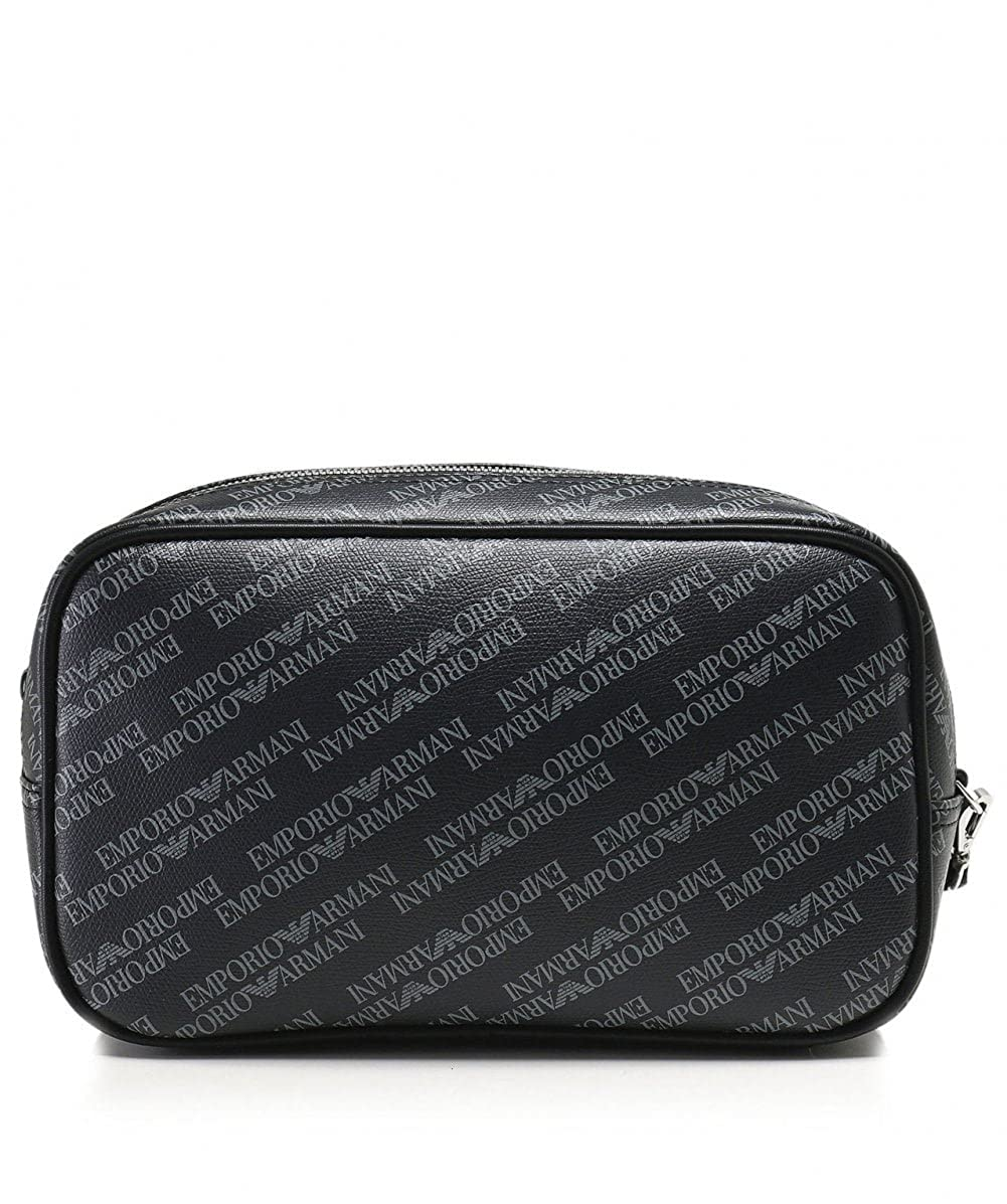 cc81ca6786e8 Emporio Armani Men s Logo Print Wash Bag Blackboard One Size  Amazon.co.uk   Clothing