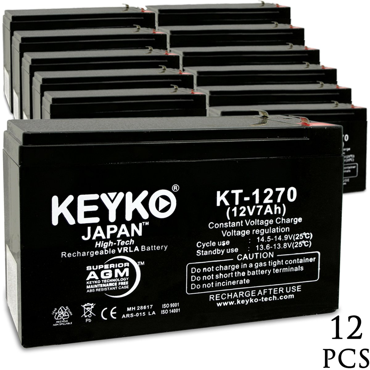 Deltec PRA 600 UPS 12V 7Ah SLA Sealed Lead Acid AGM Rechargeable Replacement Battery Genuine KEYKO (F1 Terminal W/F2 Adapter) - 12 Pack