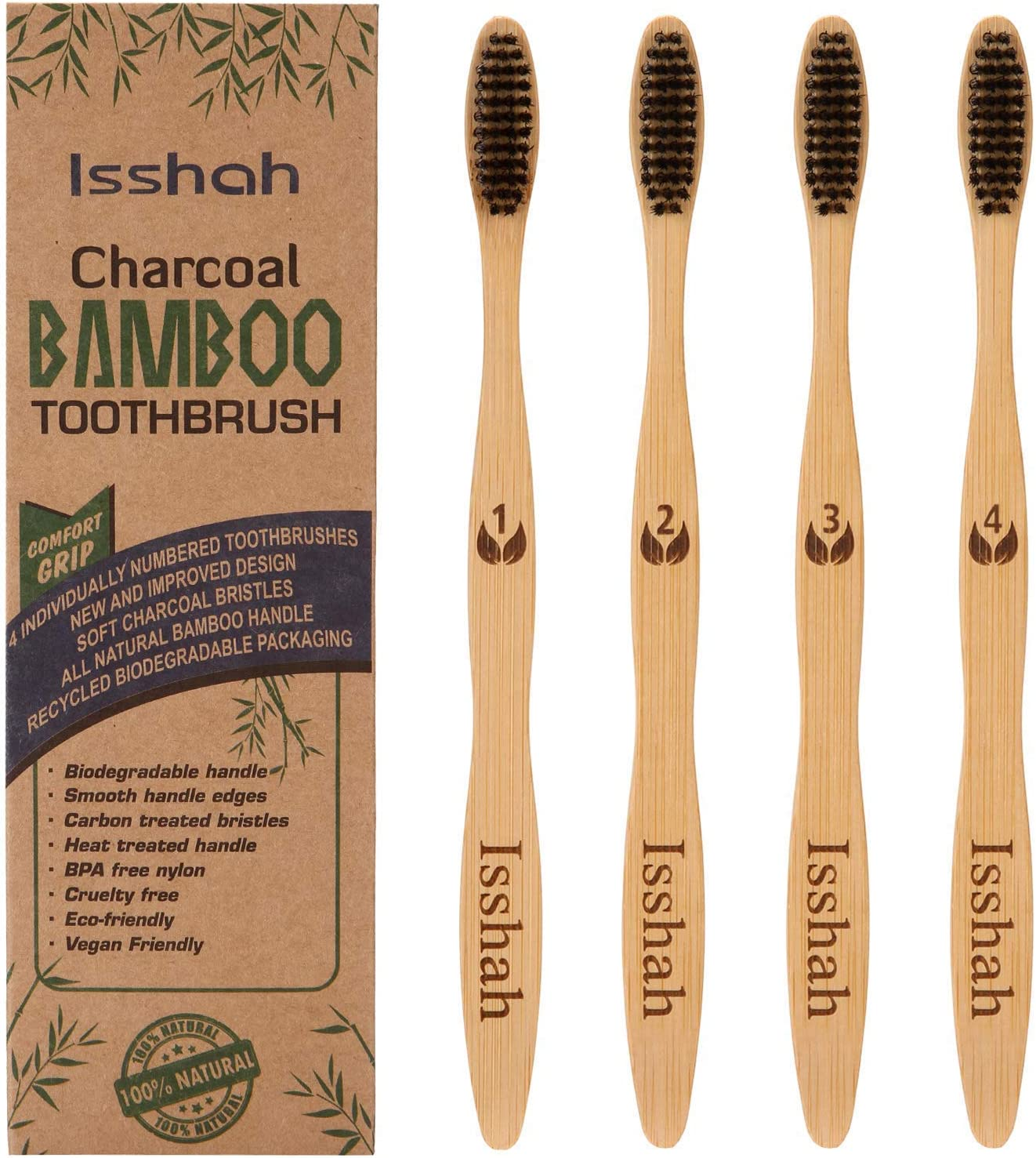 Cepillo de dientes de bambú biodegradable y ecológico, paquete de ...