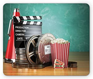 Ambesonne Movie Theater Mouse Pad, Production Theme 3D Film Reels Clapperboard Tickets Popcorn and Megaphone, Rectangle Non-Slip Rubber Mousepad, Standard Size, Seafoam