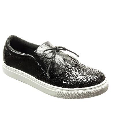 Angkorly Damen Schuhe Sneaker - Slip-On - Glitzer - Fransen - Spitze Flache Ferse 2 cm cm - Schwarz RW730 T 37 ExalbwxLS