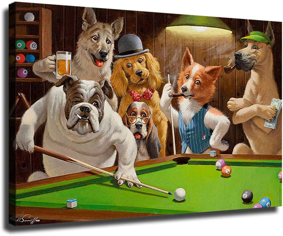 FINDEMO Dogs Over item handling ☆ Playing Pool Billiards Courier shipping free Posters Deco Painting Canvas