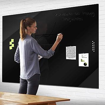 banjado Whiteboard aus Echtglas XXL Glas Magnettafel beschreibbar Beige Magnetwand 100 x 70cm gro/ß mit Markern und Neodym Magneten Memoboard magnetisch aus Sicherheitsglas