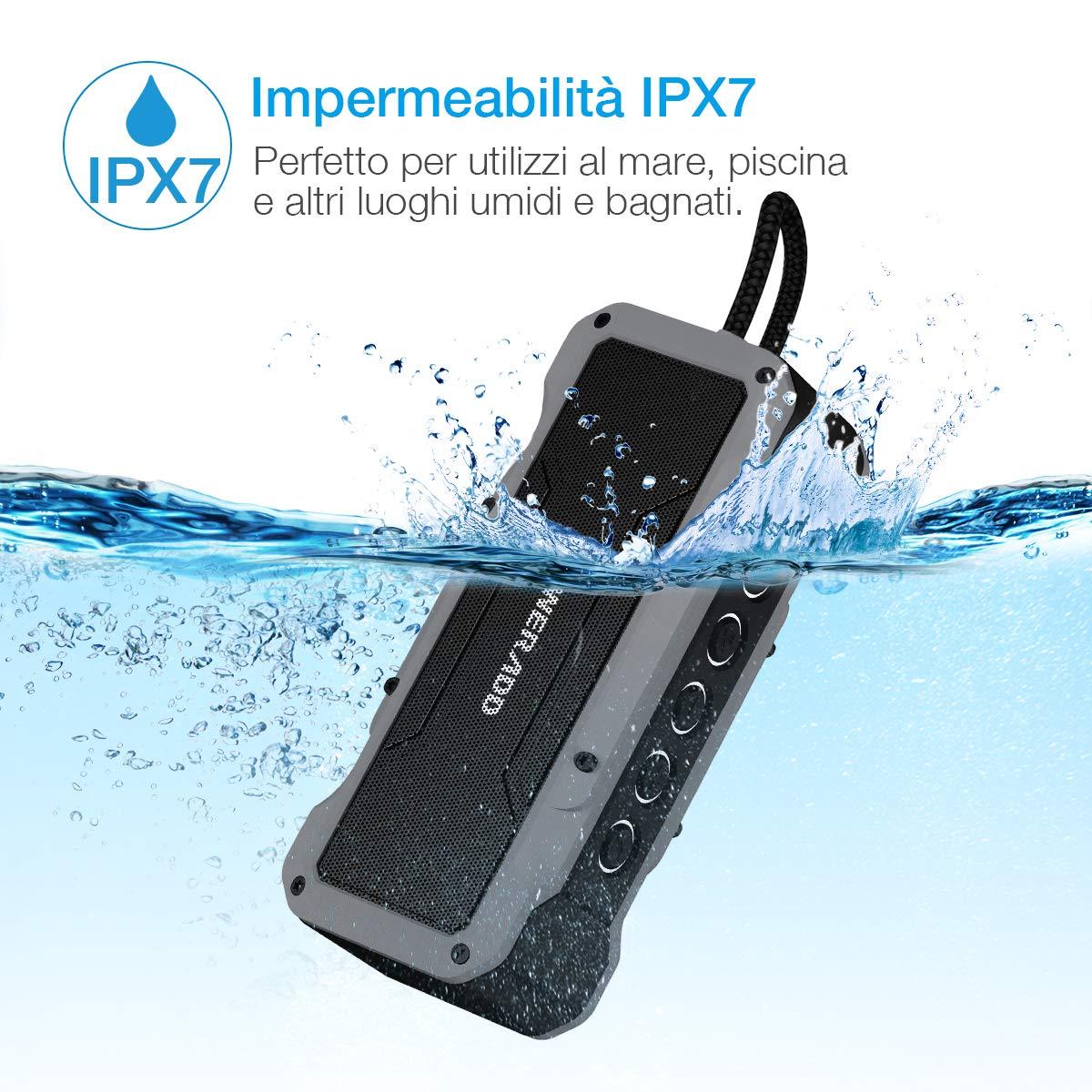 POWERADD Cassa Bluetooth Wireless Waterproof con Audio HD 36W, Altoparlante Bluetooth Portatile con Impermeabilità IPX7 a Prova di Urti e Polvere, Ingresso Aux-in, per Utilizzo All\'aperto - Grigio
