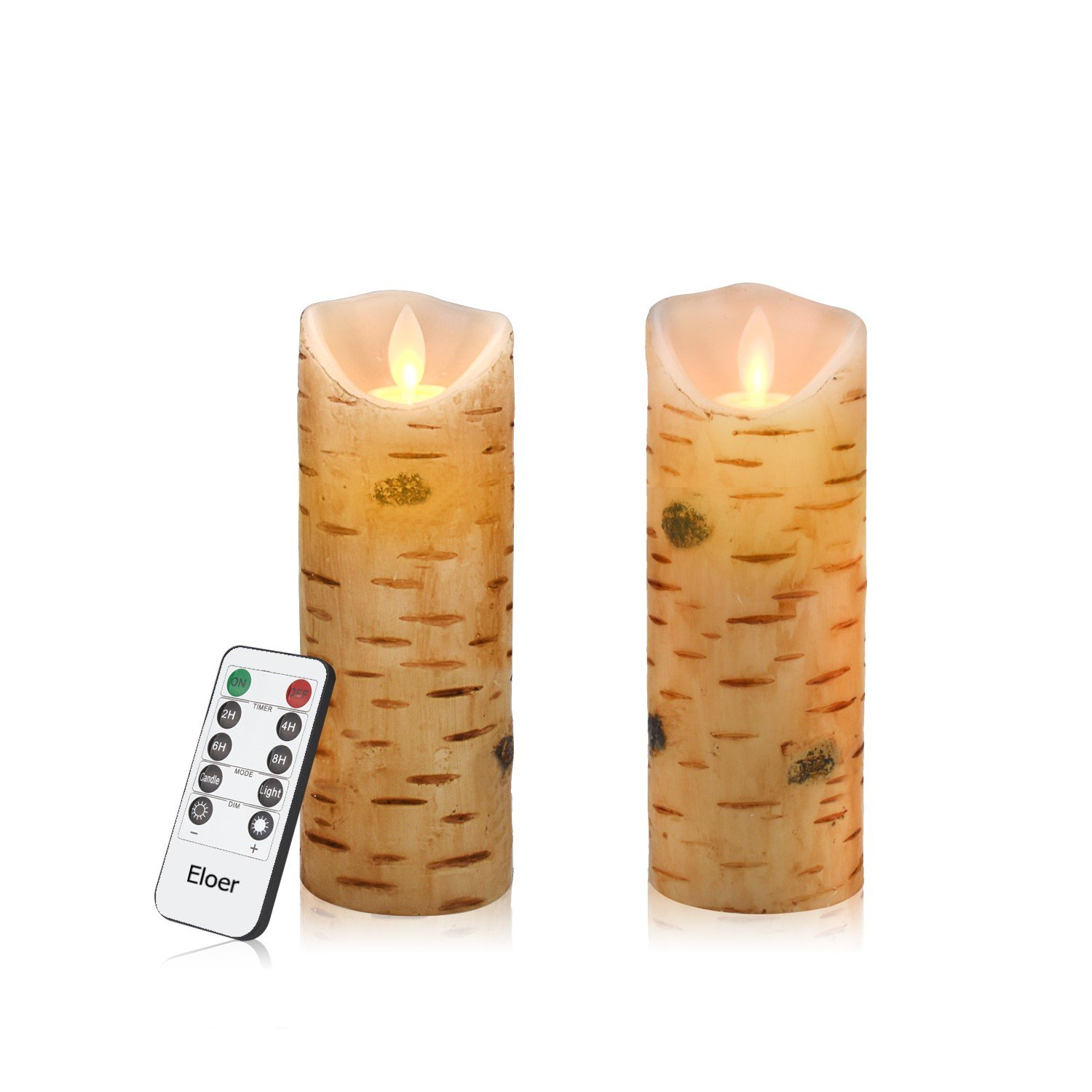 Eloer Flameless Candles 2 Pack Set Dripless Real Wax LED Pillars Include Realistic Flickering Flames and 10-Key Remote Control with 24-Hour Timer Function 400+ Hours by 2 AA Batteries (Birch Bark)