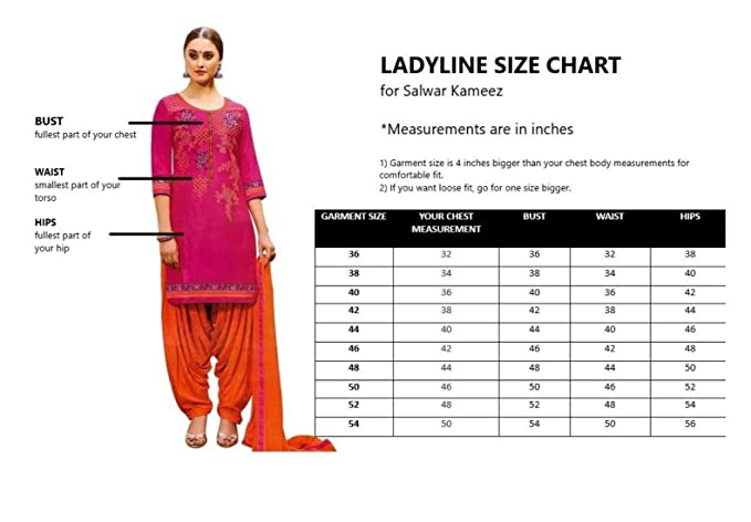 Ladyline Patiala Salwar Kameez Embroidered Womens Indian Dress Ready to  wear Salwar Suit