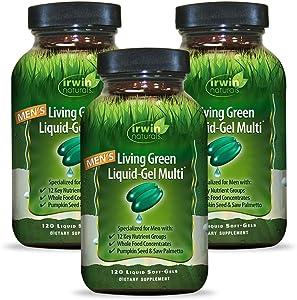 Irwin Naturals Men's Living Green Liquid-Gel Multi - 70 Essential Nutrients, Full-Spectrum Vitamins, Wholefood Blend - Targeted Adrenal & Brain Support - 90 Liquid Softgels (Pack of 3)