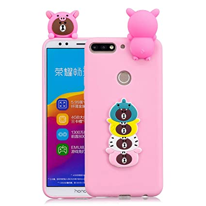 Funluna Funda Huawei Y7 2018 / Honor 7C, 3D Oso Patrón Cover TPU Suave Carcasa Silicona Gel Anti-Rasguño Protectora Espalda Caso Bumper Case para ...