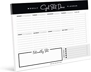 Bliss Collections Weekly Planner Pad, 50 Undated 8.5 x 11 Tear-Off Sheets for Organizing Daily and Weekly Tasks, Appointments and Responsibilities - Motivating To Do List and Productivity Tracker