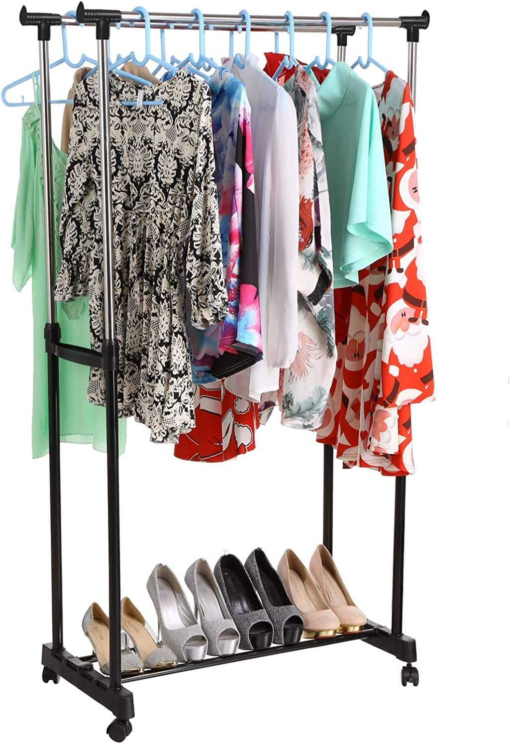 Homdox Double Rod Garment Rack Portable Adjustable Bedroom Clothing Hanging Rack with Castors