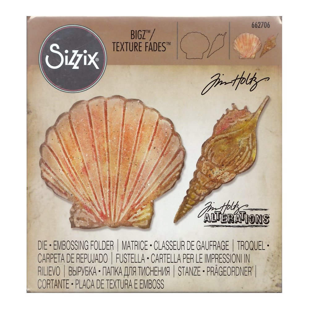 Sizzix Tim Holtz Bigz Die with Texture Fades Folder - Seashells Ellison 662706