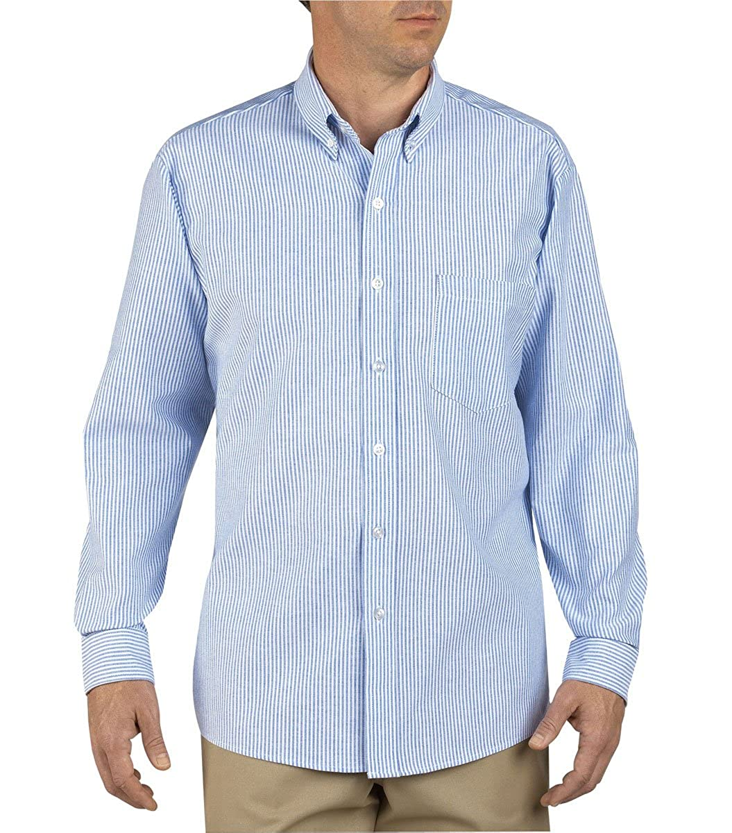 83944655 Dickies Men's Button-Down Long Sleeve Oxford Shirt, White, Blue Stripe, Long  at Amazon Men's Clothing store:
