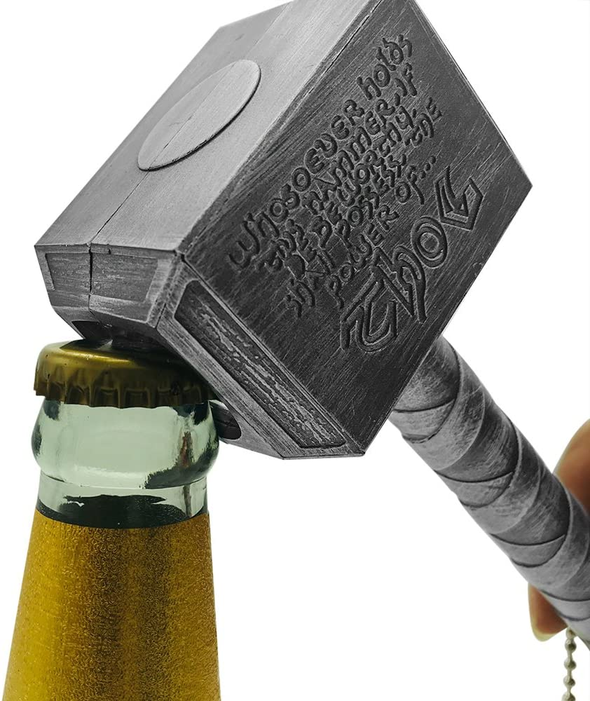 BELIFEGLORY Bottle Opener Funny Hammer Shape Beer Opener Mjolnir Hammer Keychain for Bartenders Party Pub Bar Wine Corkscrew Beverage Wrench