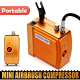Gold HS08 Mini Portable Airbrush Compressor UK 15psi-21psi with auto start /stop function perfect for drawing, painting, cake decorating, cosmetics, nail art, tanning, temporary tattoos, auto-body works, crafts and many other hobbies