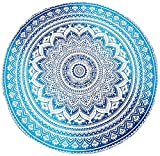 Blue Ombre Beach Towel Mandala Round Roundie Beach Throw Tapestry Hippy Hippie Gypsy Cotton Tablecloth Round Yoga Mat