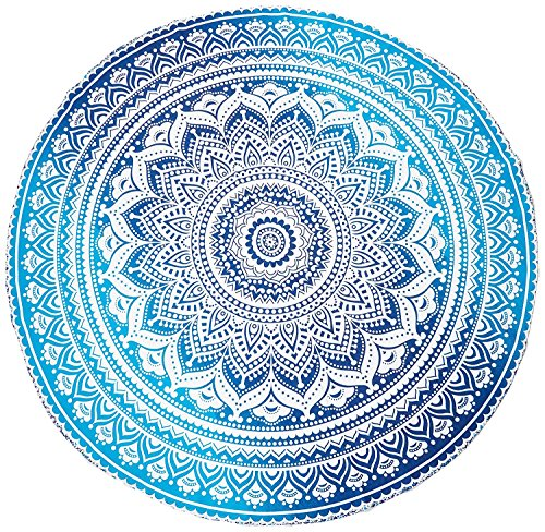 Blue Ombre Beach Towel Mandala Round Roundie Beach Throw Tapestry Hippy Hippie Gypsy Cotton Tablecloth Round Yoga Mat ()